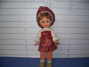 "Vintage USSR Soviet Russia Gorky Factory Sapphire Blue Sleepy Eyes Doll 15"""