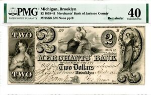 1838-1841.   $2     Brooklyn, Michigan.   Merchants Bank PMG 40.