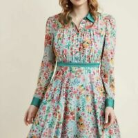 ModCloth Mint Floral Chiffon Shirt Dress RARE Size L