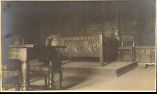 1930s photo type postcard - gruyere chateau ( counts bedroom )