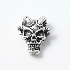 2pcs Demon Skull Metal Beads Antique Silver 15x12mm - B0218635