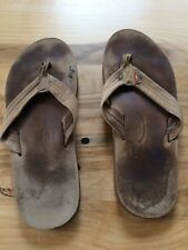 Men's Rainbow Sandals Flip Flops Size Large Leather Tan