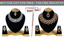 Gold Plated Party wear Zerconic Kundan Style Necklace Sets Volume Discount bg106