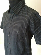 """Kangol ~ black striped all cotton two pocket s/sleeve shirt ~ size S ~ 38"""" chest"""
