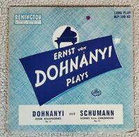 ERNST VON DOHNANYI plays schumann LP VG+ RLP-199-43 US Mono 1951 Remington VG++