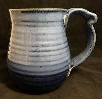"""Extra Large Tankard Mug (6.25"""" High) Two-Tone Blue Art Pottery Signed White"""