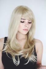 C495 hell blond fransig geschnitten Stufen glatt leicht gewellt langhaar Perücke