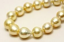 South Sea Pearl Necklaces 9-11mm Natural Gold Color