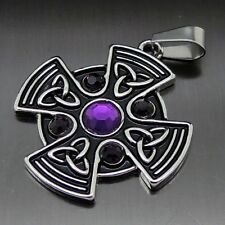 "Celtic Purple Sun Cross Pewter Pendant Free 20"" Necklace PP#295P"