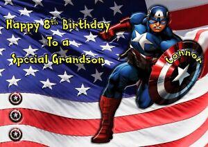 Personalised birthday card Captain America  son grandson nephew brother 4 5 7 9