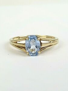 10k Sz 6 Yellow Gold Aquamarine Solitaire Cushion Cut Oval Ring Engagement March