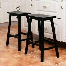Set of 2 Bar Stools Kitchen Dining Room Saddle Seat Wooden Pub Chair 24-Inch