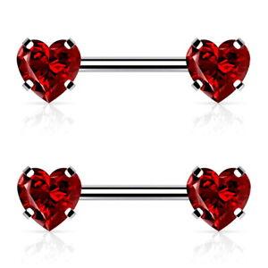 "THREADLESS HEART CZ END NIPPLE RING BARBELLS SURGICAL STEEL PIERCINGS (14G 1/2"")"