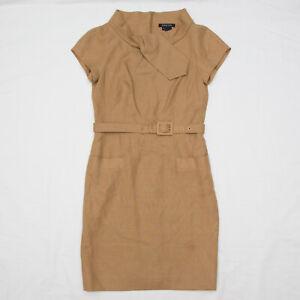 Etcetera jetset Dress 4 Linen Tan Pockets Career Casual Business Professional 8