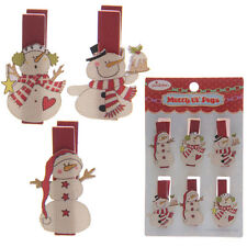 CHRISTMAS Novelty Snowman Xmas Pegs X 6 Card Hangers / Tree Decoration / Crafts