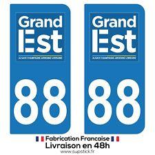 2 STICKERS AUTOCOLLANT PLAQUE IMMATRICULATION DEPT 88 Région Grand Est