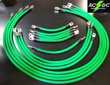 4 Awg HD Golf Cart Battery Cable 13 pc GREEN TXT E-Z-GO Set U.S.A MADE