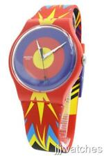 New Swiss Swatch Jova Time Red Multi-Color Silicone Watch 41mm SUOZ220 $85