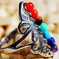 Thumb Adjustable Reiki Gem Ring Silver Plated Healing Hollow Stone 7 Chakra
