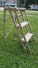 Vintage 3-Step Folding Metal Step Stool Ladder shop bench antique work HeavyDuty
