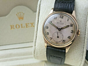 BEAUTIFUL RARE GENTS 1948 SOLID 9K GOLD ROLEX PRECISION WATCH, SERVICED & BOXED