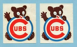 1960's Era Lot of 2 Chicago Cubs Decals