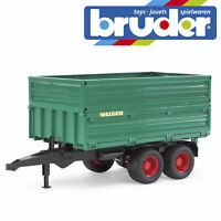 Bruder Tandemaxle Tipping Trailer & Removeable Top Kids Farm Toy Model 1:16