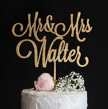 Custom Wedding Cake Topper with ur Last Name Mr and Mrs Rose Gold Silver Glitter