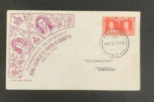 SC11 NEW ZEALAND 1937 FDC Coronation cancel Wanganui