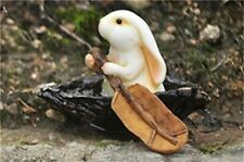 "2"" Bunny Rabbit Rowing Boat Fairy Garden Miniature Terrarium Dollhouse Figure"