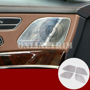 Stainless Inner car Door Speaker Trim Cover 4pcs For Benz S Class W222 2014-2019