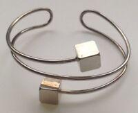 bracelet  vintage rigide déco cube couleur argent rhodié 4102