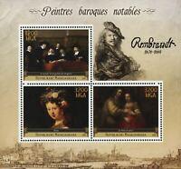 Barroque Painter Rembrandt Art Sov. Sheet of 3 Stamps MNH
