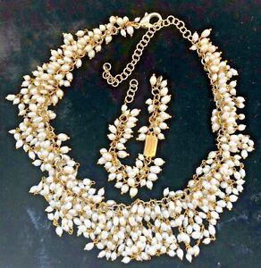 Rosantica Pearl Necklace Bracelet 22K Gold Plate Bib Necklace Statement Italy