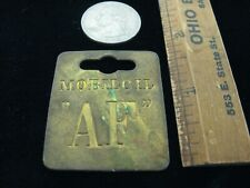 "VTG MOBILE OIL GAS/OIL PUMP BRASS TAG Mobil Oil ""AF"" FUEL Tag gas collectible"