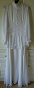 VINTAGE JOHN CHARLES WHITE BOHO/WEDDING/PROM MAXI  DRESS UK 8/10