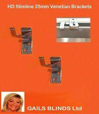 PACK OF 2 METAL SLIMLINE BRACKETS FOR 25MM VENETIAN BLINDS,