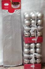 """Silver Christmas Tree Skirt  48"""" and  60 Shatterproof Ornaments ~ NEW"""