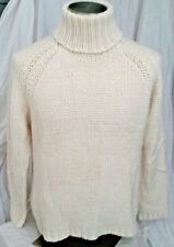 Very Stylish & Cozy Ivory Knit Wool Blend Turtleneck By Pandemonium, Size L