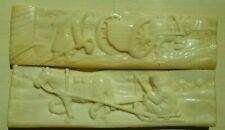 1916✯ 2 Unique Hand Carved BONE CARVINGS European STORY TILES [] K. ANTIPICHA []