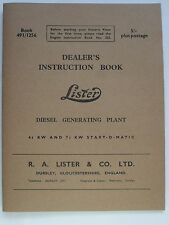 Lister Diesel Generating Plant 4.1/2 & 7.1/2KW Start-O-Matic for FR Range