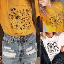 Plant These Save The Bees T-shirt Floral Graphic T Shirts Women Summer Casual UK