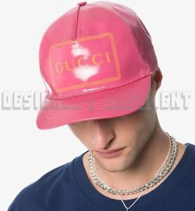 GUCCI pink M coated cotton MONTE CARLO CRYSTAL Logo baseball Hat NWT Authen $430