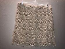 Love 21 Cream Beige Crochet Lined Bodycon Short Skirt Size Large- NWT