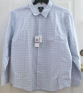 NEW CALVIN KLEIN Lifestyle Button Up Dress Cotton Shirt Vista Blue Plaid Variety