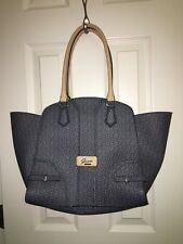 GUESS Large Blue Tan Satchel Tote Handbag Like New