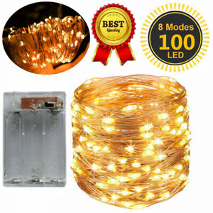 30/50/100 LED Battery Micro Rice Wire Copper Fairy String Lights Warm White UK