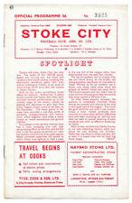 Stoke City Home Teams S-Z Written - on Football Programmes