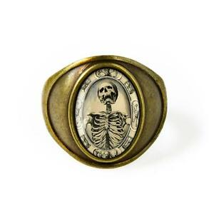 Victorian Memento Mori Skeleton Antique Bronze Gothic Skull Horror Ring Sz 7