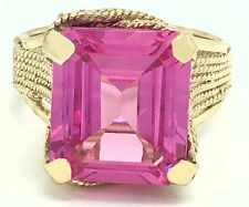 PINK SAPPHIRE 6.17 Carats RING 14k YELLOW GOLD * Brand New Ring ** FREE Shipping
